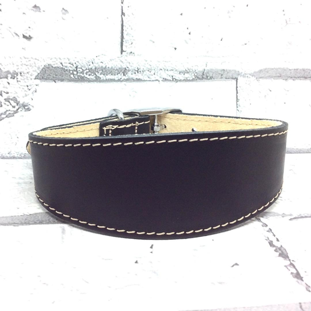 Black leather whippet collar