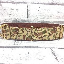 Squirrel design dog collar, hand,ade, cream and brown