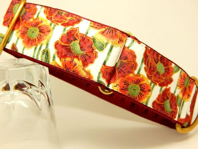 Orange and rust floral dog collar available as house and walking collars
