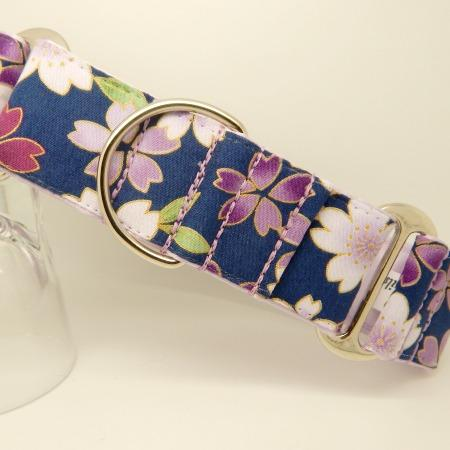 Blue and lilac flower dog collar, available as house and walking collars