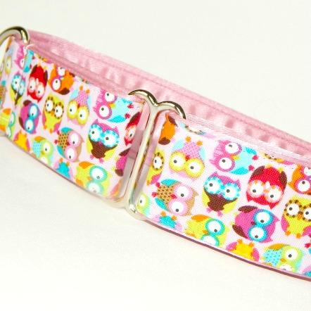 House collars and martingale collars, owls, pink,