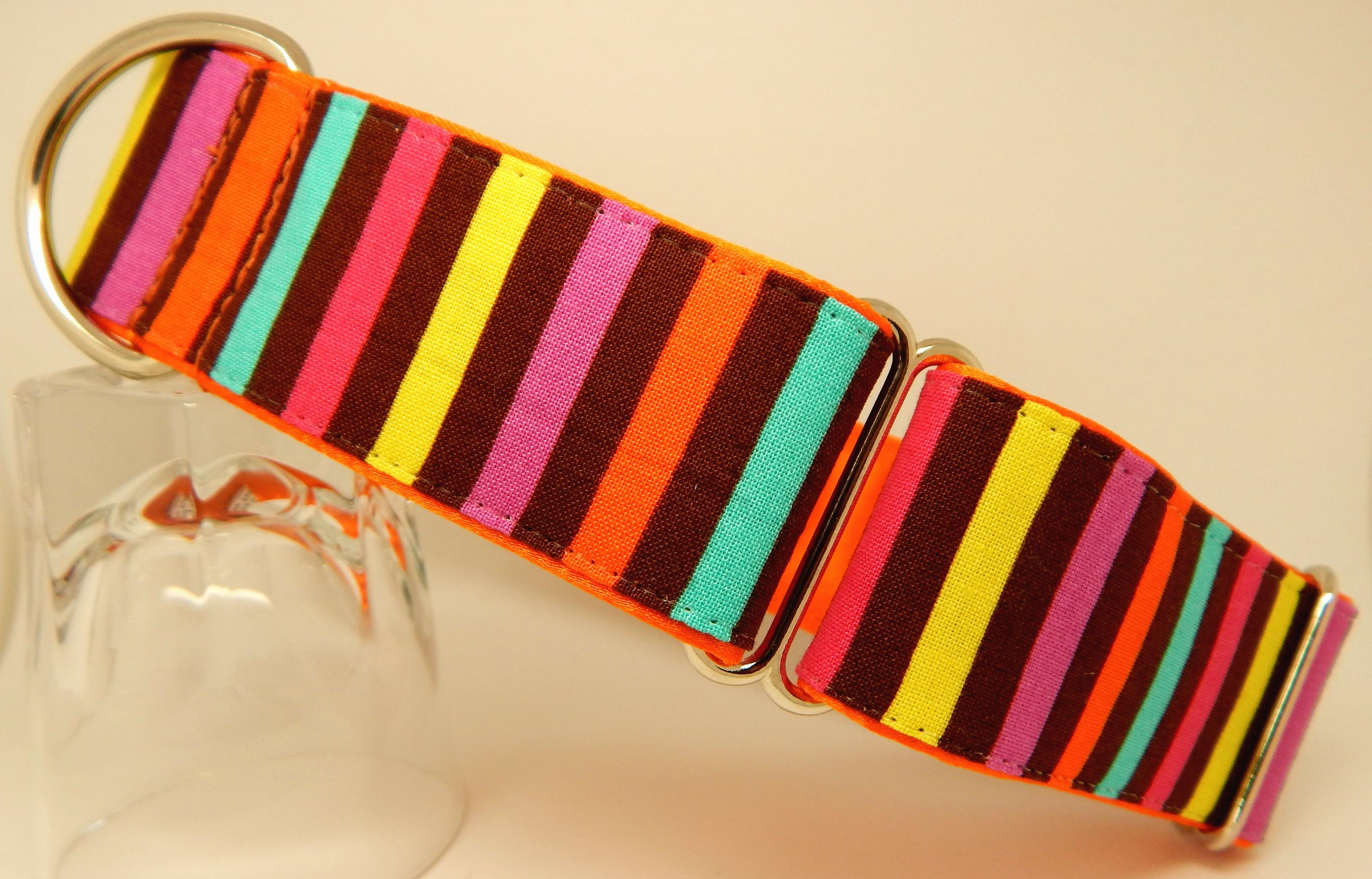Candy Stripe collar, pink, turquoise, yellow, orange,