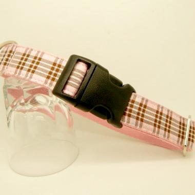 dog collar, pink tartan, raspberry tartan,