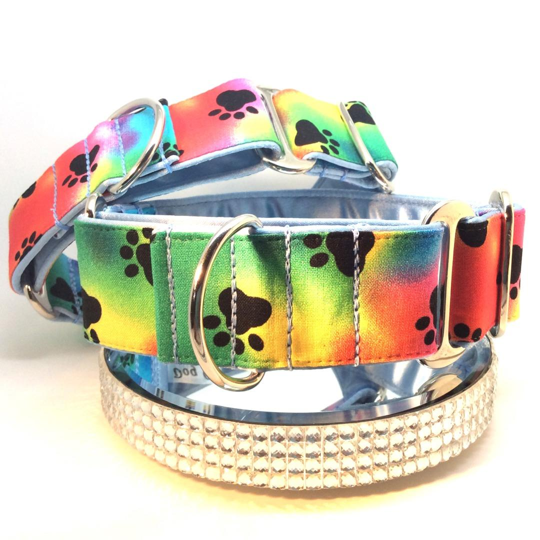 Greyhound Martingale collars paw prints