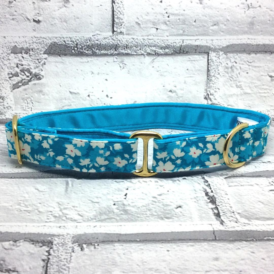 turquoise dog collar,  floral, blue
