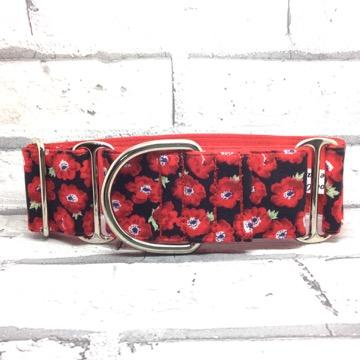 pink poppies, greyhound collars, dog collars,