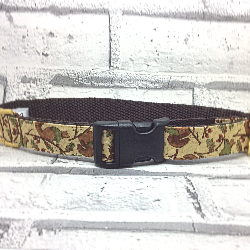 Dog collar with squirrels design, beige, brown, green,