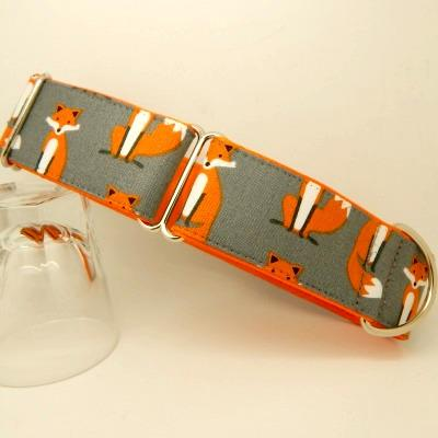 Fox collar, grey, orange