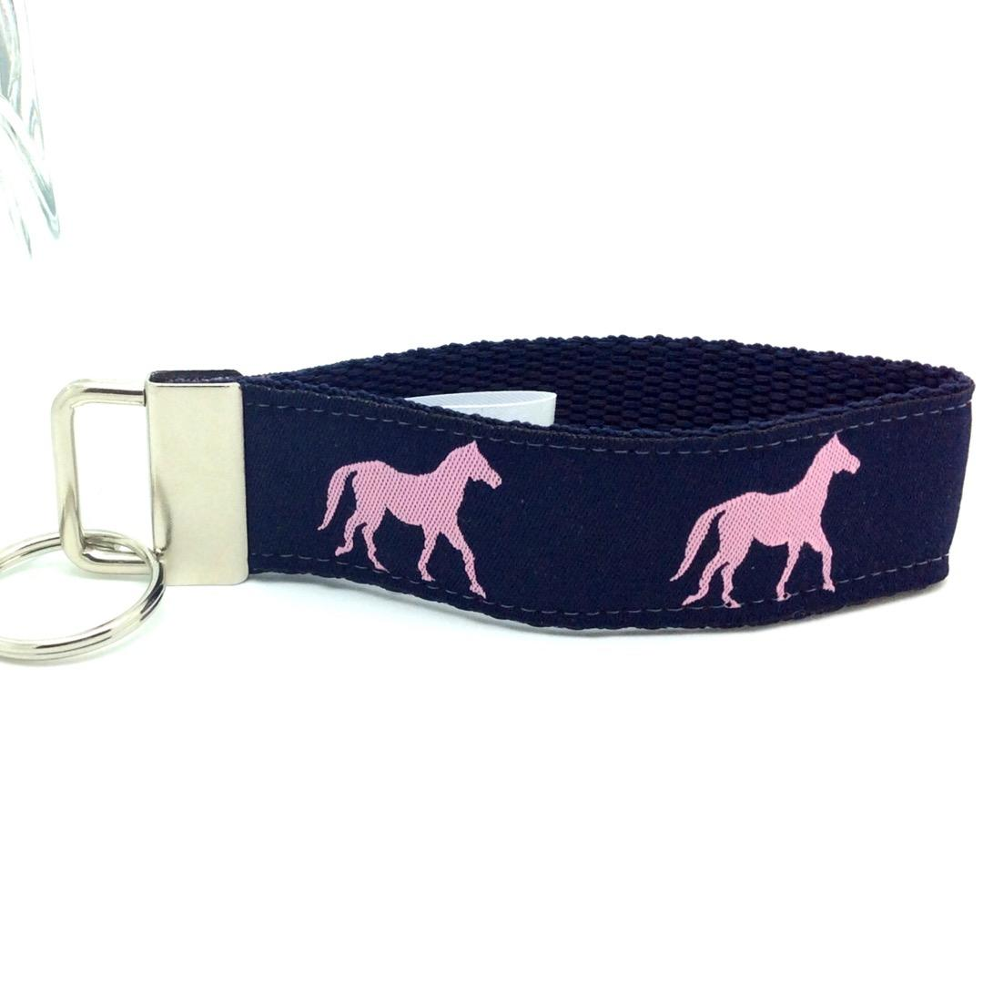 Horse key fob pink and navy