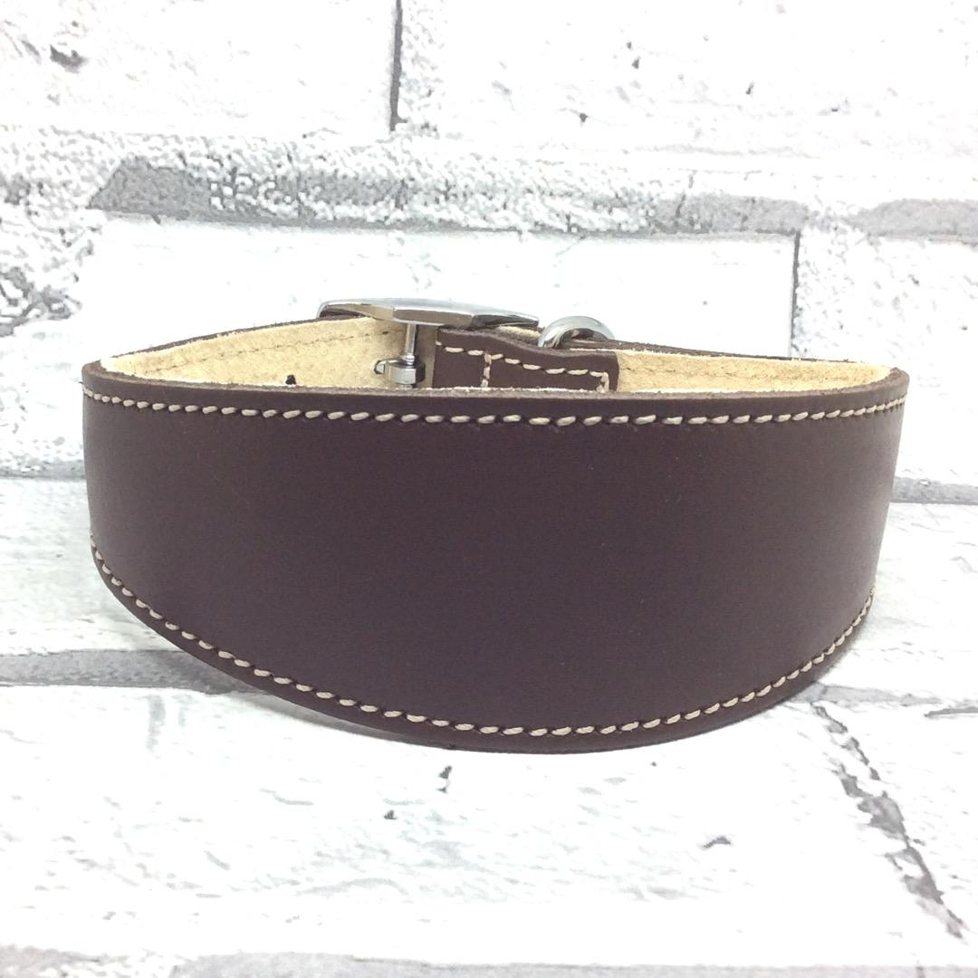 Brown leather whippet collar