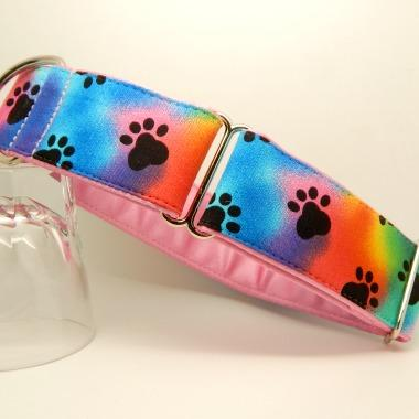Greyhound house collar rainbow background with black paw prints