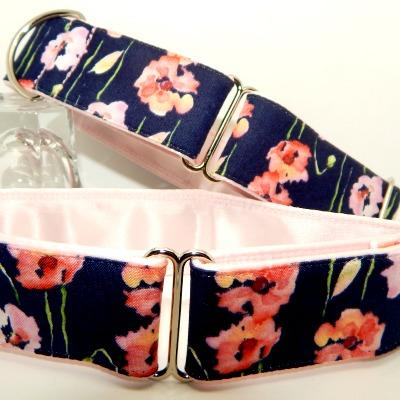 Greyhound collars pale pink poppies on a navy background, martingale and house collars