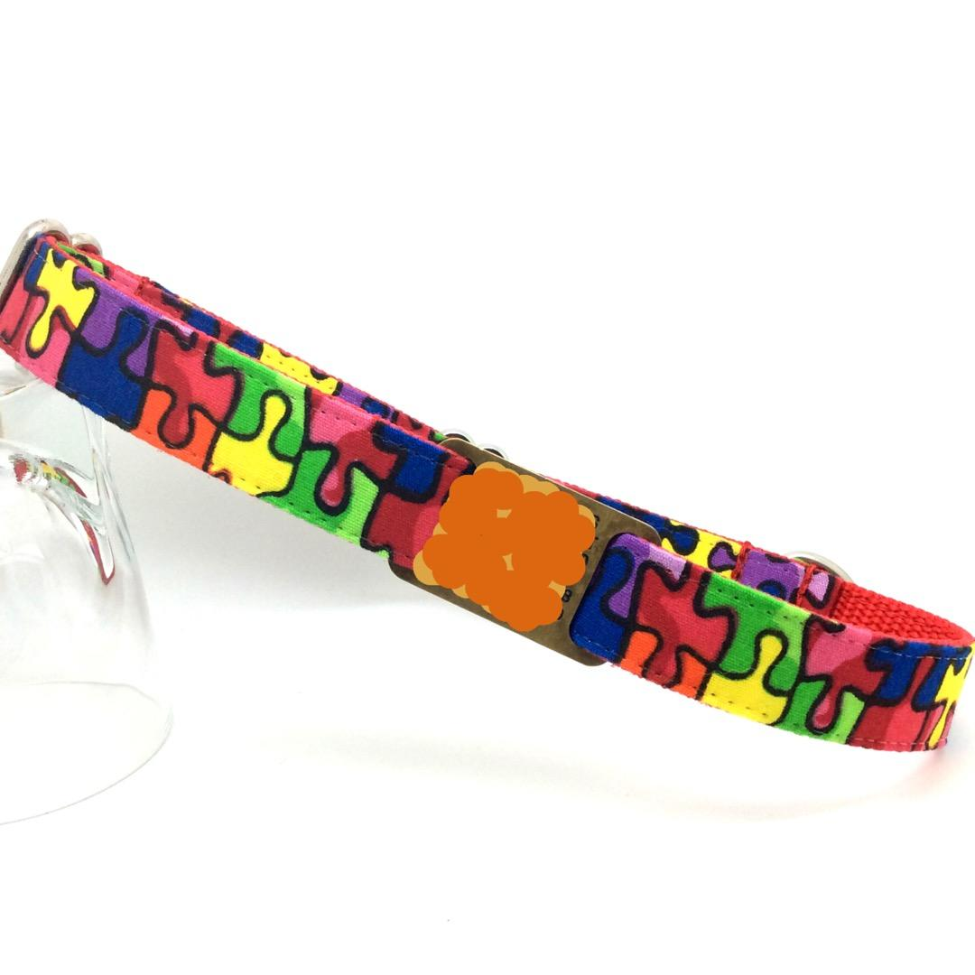 Jigsaw pattern dog collar