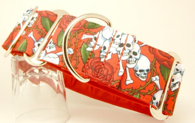 Skulls and roses collar, red, skulls, dog collar