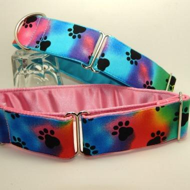 Greyhound house collar black paw prints with coloured satin lining