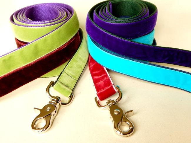 velvet dog leads, nickel or brass, four foot long, one inch wide