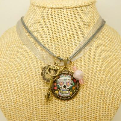 steampunk necklaces, goth, victoriana, skulls