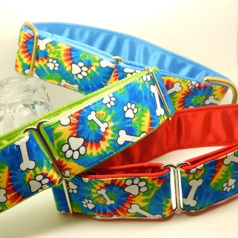 bones design dog collar, tie-dye, red, blue, green