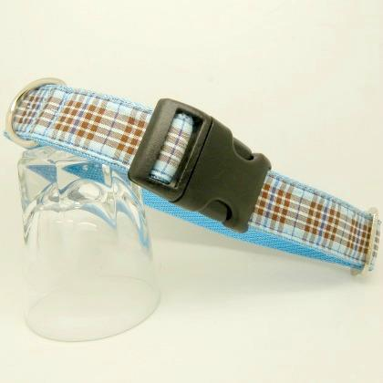 dog collar, blue tartan, blueberry tartan,