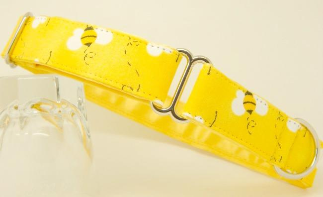 Yellow bees dog collar, available as house and walking collars