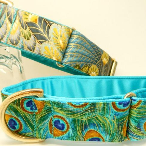 peacock design dog collar, turquoise, blue, gold