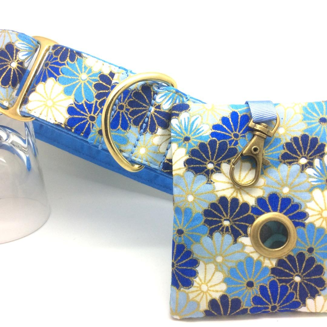 Blue floral Martingale, dog collar