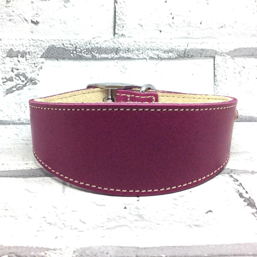 Raspberry leather whippet collar