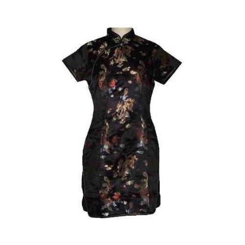 Short black Chinese dress with dragon and phoenix figures,