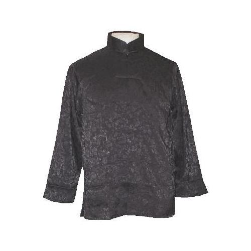 Black Chinese shirts with a mandarin style collar,