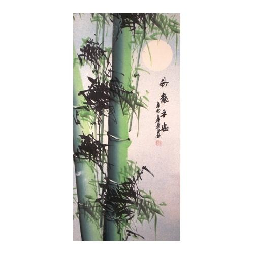Chinese wall scroll with painted mountain bamboo forests,