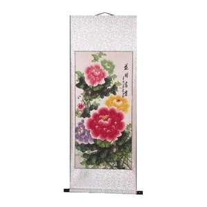 Chinese wall scrolls with painted Peony flowers,