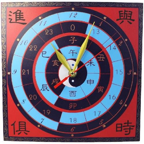 Large feng shui wall clock with success symbolism,