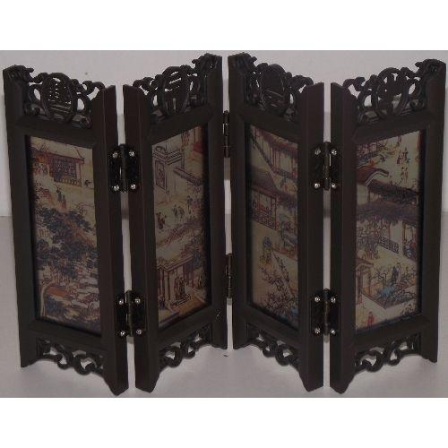 Ornamental Chinese tabletop screens with landscape paintings,