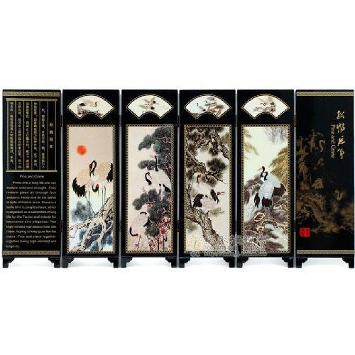 Ornamental miniature Chinese tabletop screens,