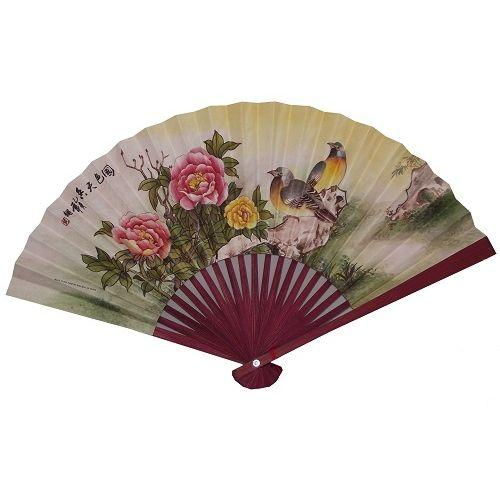Chinese paper fans with bamboo fretwork,