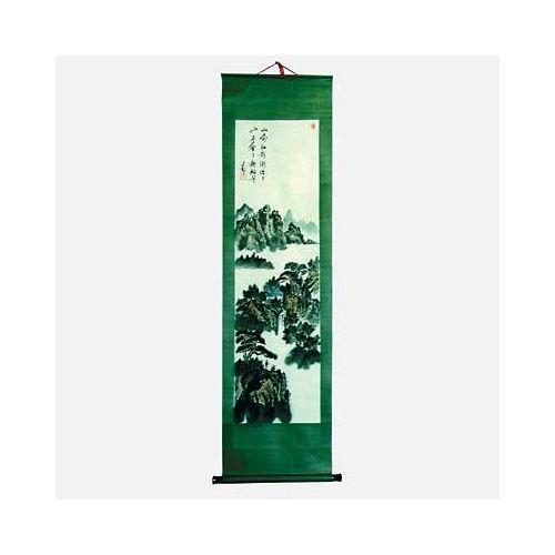 Chinese wall scrolls with painted mountain waterfalls,