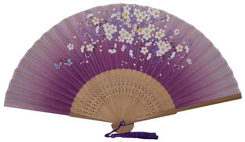 Purple silky Chinese fans with butterfly and blossom patterns,