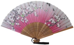 Pink silk Chinese fans with natural bamboo fretwork,