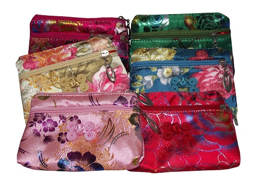 Chinese silk purses with colourful oriental patterns,