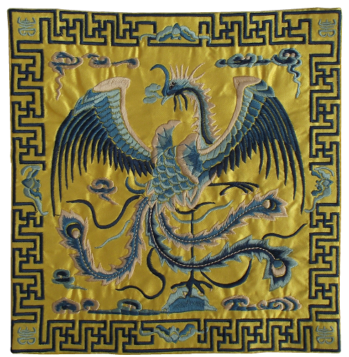 Gold Chinese table mats with embroidered silver phoenix,