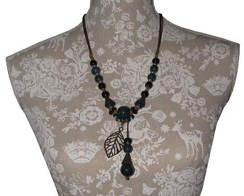 Chinese fashion necklace strung with hand painted ceramic beads,