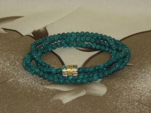 Malachite wrist mala with a large prayer bead,