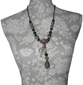 Oriental style necklace with green ceramic beads,