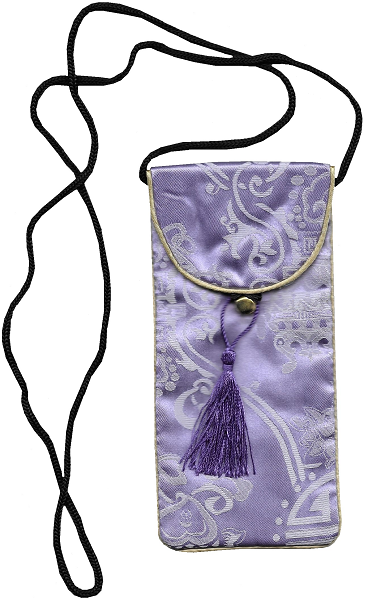 Silk mobile phone pouch with a decorative Chinese tassel,