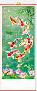Chinese wall scrolls with lotus flowers and eight Chinese carp,