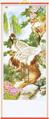 Chinese wall scroll with white feathered cranes,