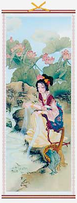 Xi Shi Chinese wall scrolls with lotus flowers,