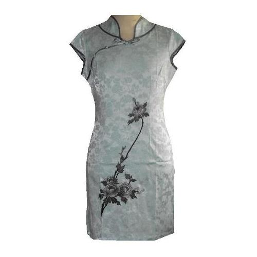 Ladies Chinese dress with embroidered peony flowers,