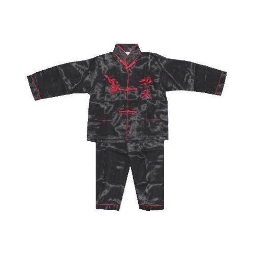 Black Chinese pyjamas with red kung fu symbols,