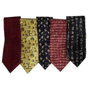 Men's 100% pure silk neck ties with oriental patterns,